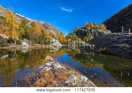 Beautiful Pond Of Swiss Alps In Autumn
