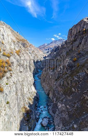 Stunning View Of The Canyon Below Aletsch Galcier