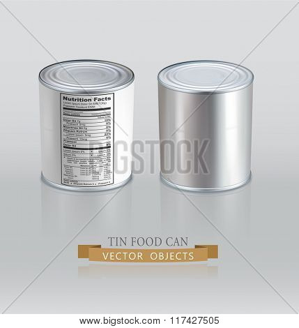 Vector tin cans. Realistic. (Element for design)