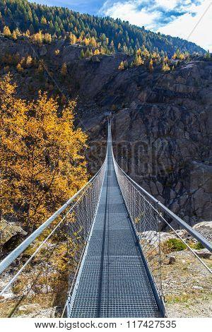 Suspension Bridge Between Reidalp And Belalp