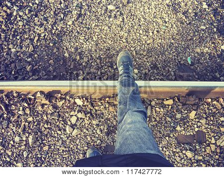 Vintage Stylized Legs Walking On Rail Track, Concept Picture
