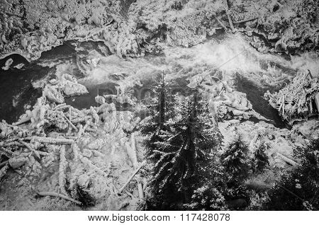 Frozen River In Black And White
