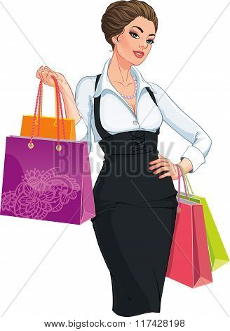 Happy young woman wih shoppong bags