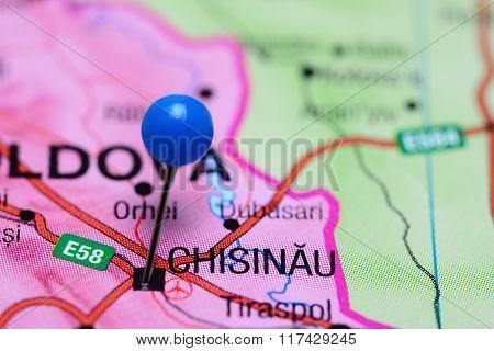 Chisinau pinned on a map of Moldova