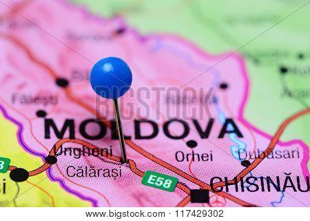 Calarasi pinned on a map of Moldova