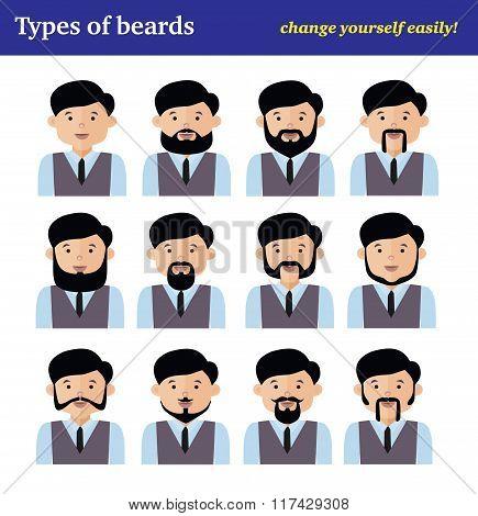 The flat cartoon character set, types of beards, vector illustra