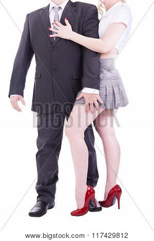 Couple in a sexy role playing game, isolated on white background.