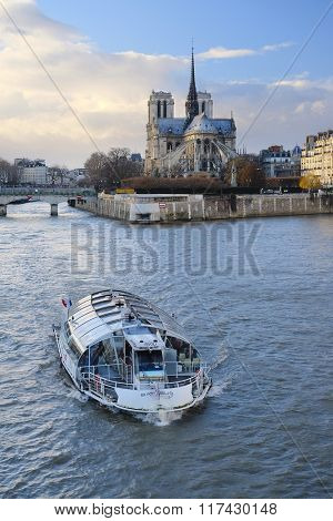 Paris, France, February 8, 2016: Notre Dame de Paris, one of the Paris simbols