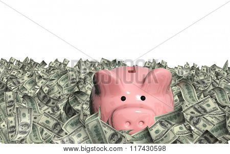 Dollar banknotes and piggy bank. Isolated on white background
