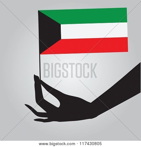Hand With Flag Kuwait