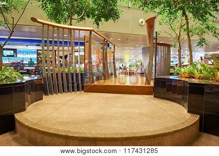 SINGAPORE - NOVEMBER 03, 2015: interior of Changi Airport. Singapore Changi Airport, is the primary civilian airport for Singapore, and one of the largest transportation hubs in Southeast Asia