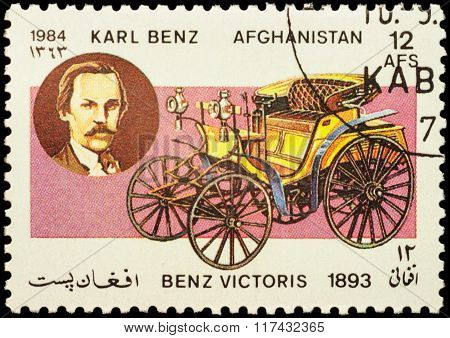 Old Car Benz Victoris (1893) On Postage Stamp