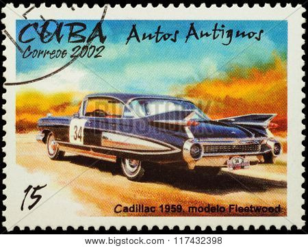Old Car Cadillac Fleetwood (1959) On Postage Stamp