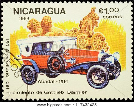 Old Car Abadal (1914) On Postage Stamp