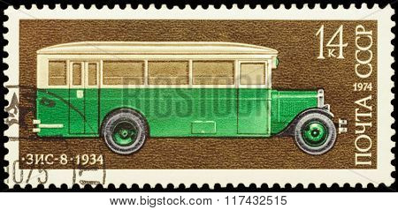 Old Russian Bus Zis-8 (1934) On Postage Stamp