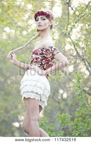 Gorgeous Blonde in Red Flower Crown