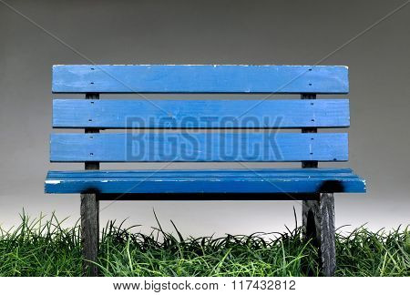 Old Blue Park Bench.