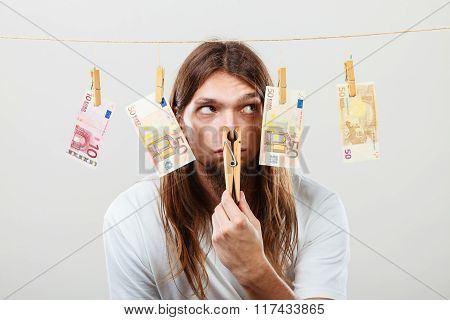 Young Man Sick Of Money