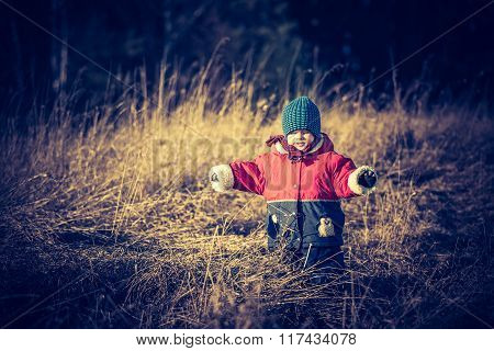 Young Happy Boy Playing Outdoor