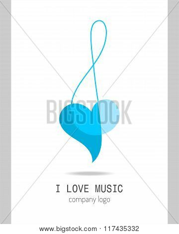 Musical logo, treble clef. Modern stylish musical icon, a symbol for the company