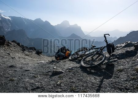 Bicycle On The Mountain Pass
