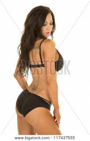 Woman In Blck Bikini Side Looking Down