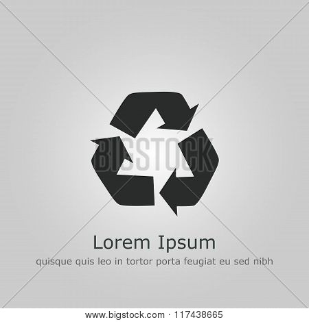 Recycle Icon, On Grey Background, Dark Outline, Example Text