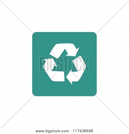 Recycle Icon, On Red Circle Background, White Outline