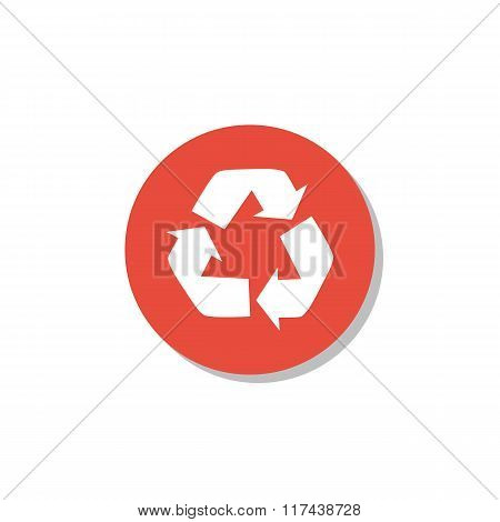 Recycle Icon, On White Background, Red Circle Border, White Outline