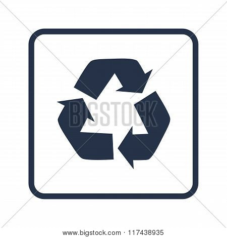 Recycle Icon, On White Background, Rounded Rectangle Border, Blue Outline