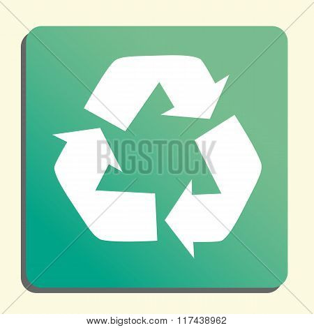 Recycle Icon, On Button Style Green Background, Yellow Light, Shadow