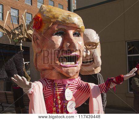 Donald Trump Grandstanding And Bernie Sanders Mardi Gras Characters