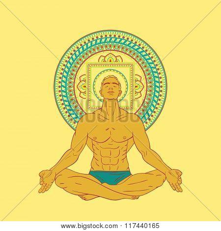 Man Sitting In Meditation Pose.