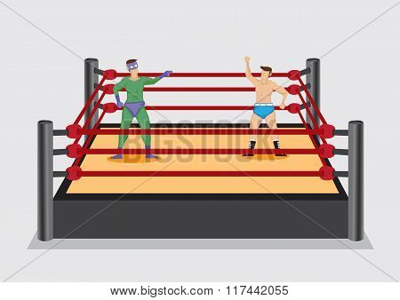 Wrestler In Wrestling Ring Vector Cartoon Illustration