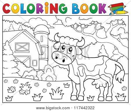 Coloring book cow near farm theme 1 - eps10 vector illustration.