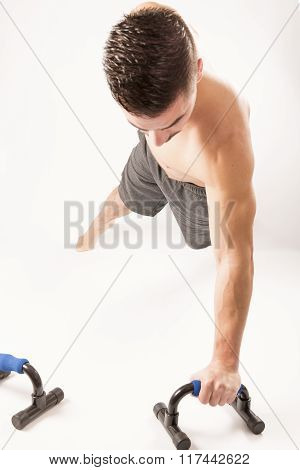 Strong Beautiful Man Doing Sport