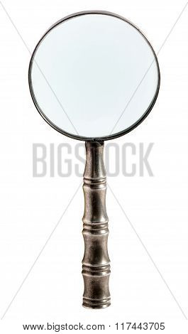Round Metal Magnifying Glass Isolated On White