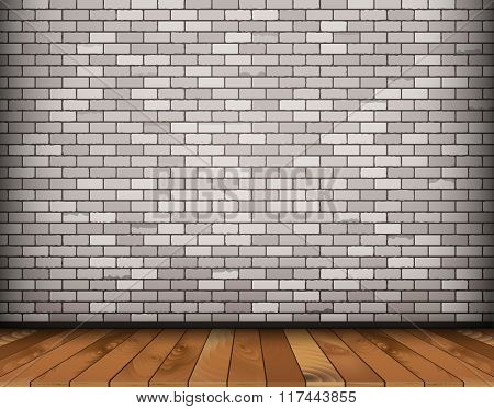 Background with bricks and wooden floor