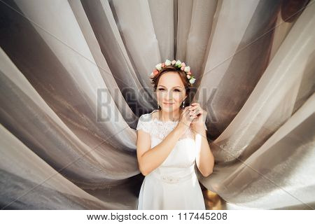 Portrait Of Beautiful Bride In The Hotel Room.