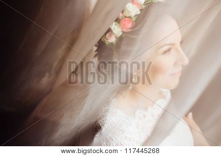Fairy Portrait Of Beautiful Bride In The Morning.
