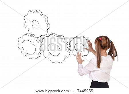 Woman and drawing gears