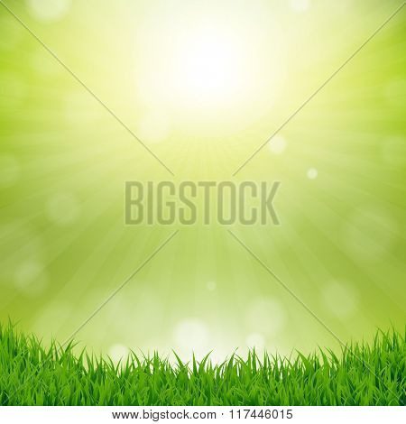 Grass Border With Nature Background With Gradient Mesh, Vector Illustration