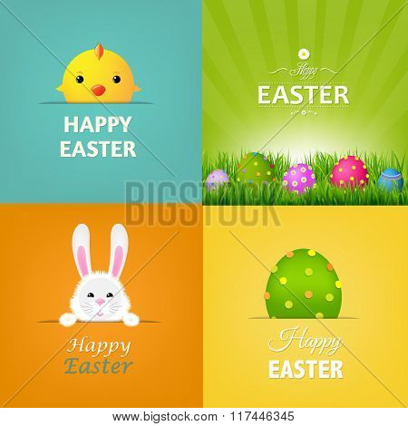 Easter Cards Set With Gradient Mesh, Vector Illustration