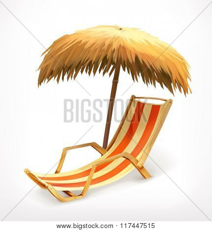 Beach umbrella and lounge chair, vector icon