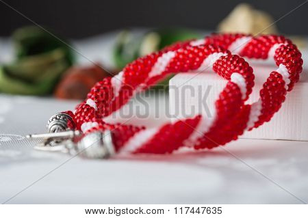 Handmade Beaded Necklace From Beads Of Red And White Color