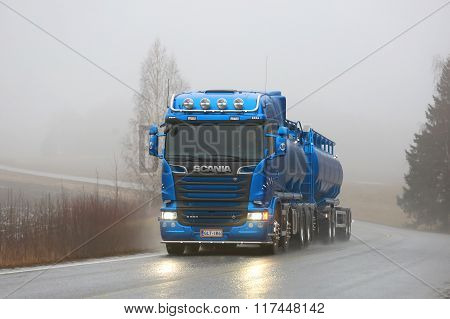 Blue Scania R580 Tank Truck On Foggy Road
