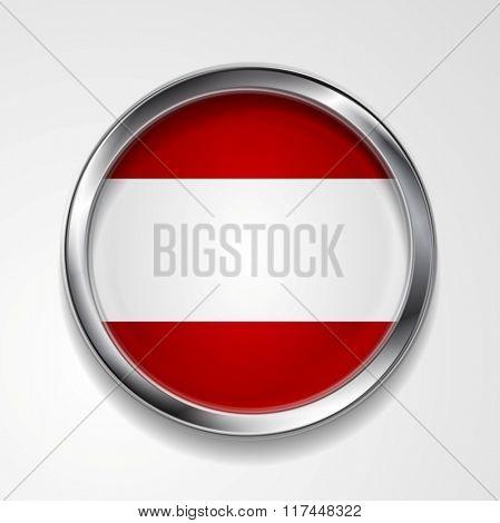 Abstract vector button with metallic frame. Austrian flag