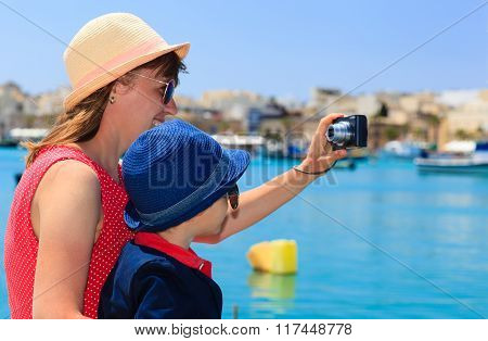 mother and son making selfie while travel in Europe, Malta
