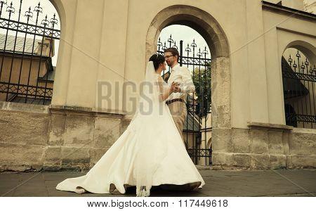 luxury romantic happy bride and groom celebrating marriage