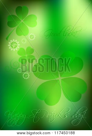 Holiday Card On St. Patrick's Day. March 17. Blurred Background With Clovers
